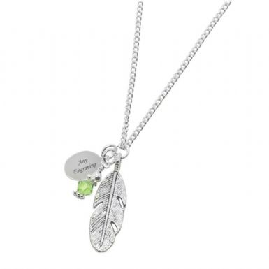 Engraved Necklace with Feather & Birthstone | Someone Remembered